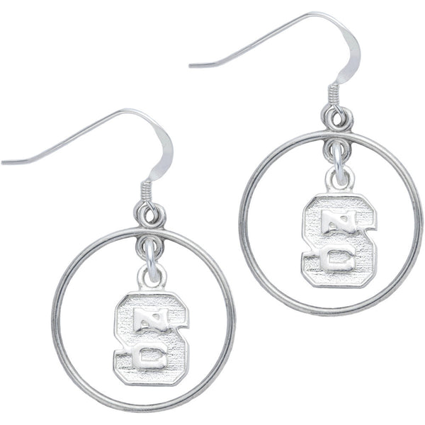 Sterling Silver Collegiate NC State Open Drop Earrings