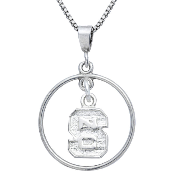 Sterling Silver Open Drop Collegiate NC State Necklace