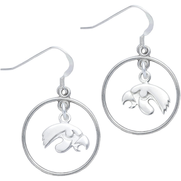 Sterling Silver Collegiate Iowa Open Drop Earrings