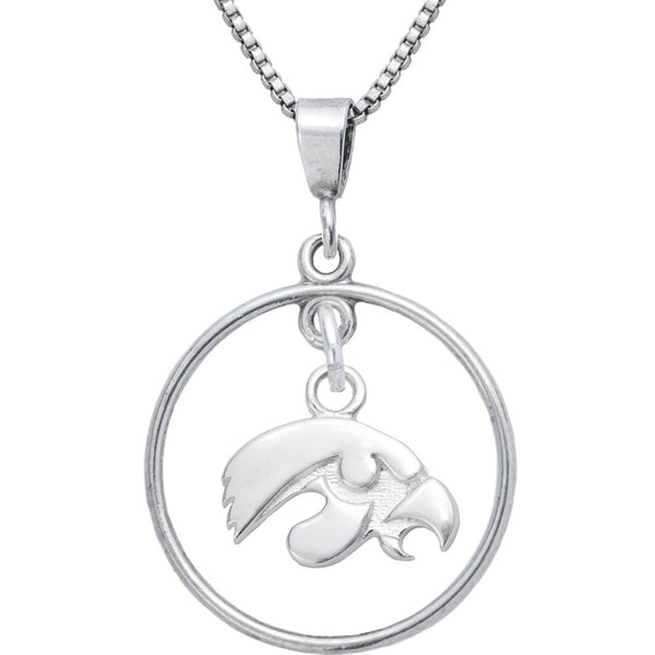 Sterling Silver Open Drop Collegiate Iowa Necklace
