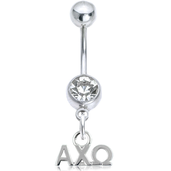 Sorority Alpha Chi Omega Clear Gem Belly Ring