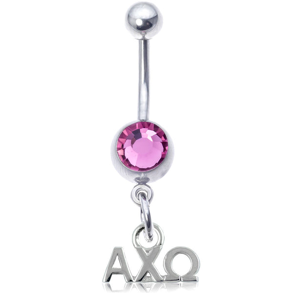 Sorority Alpha Chi Omega Pink Gem Belly Ring