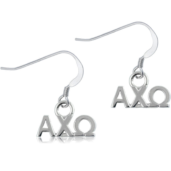 Sorority Alpha Chi Omega Sterling Silver Dangle Earrings