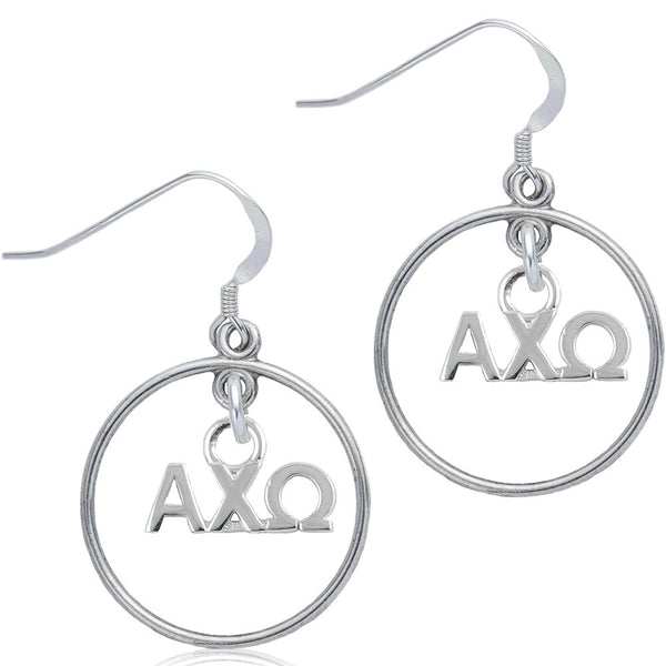 Sorority Alpha Chi Omega Open Drop Earrings