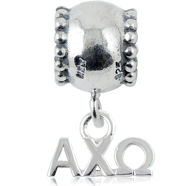 Sorority Alpha Chi Omega Daisy Sterling Silver Slider Bead