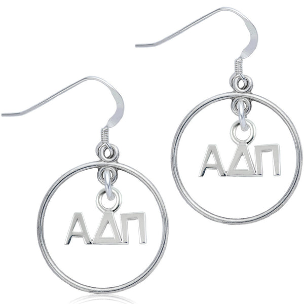 Sorority Alpha Delta Pi Open Drop Earrings
