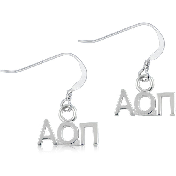 Sorority Alpha Omicron Pi Sterling Silver Dangle Earrings