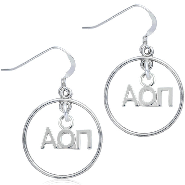 Sorority Alpha Omicron Pi Open Drop Earrings