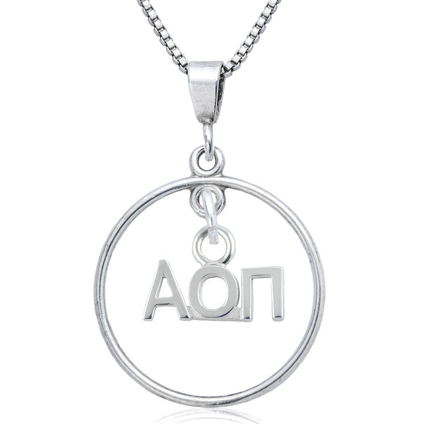 Sorority Alpha Omicron Pi Open Drop Necklace