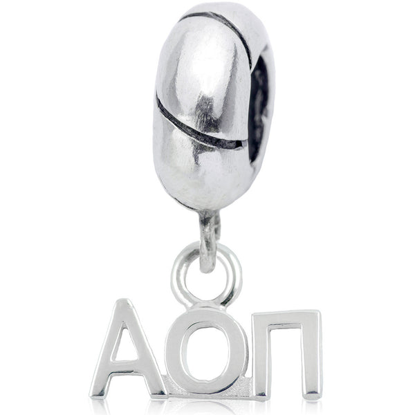 Sorority Alpha Omicron Pi Sterling Silver Slider Bead