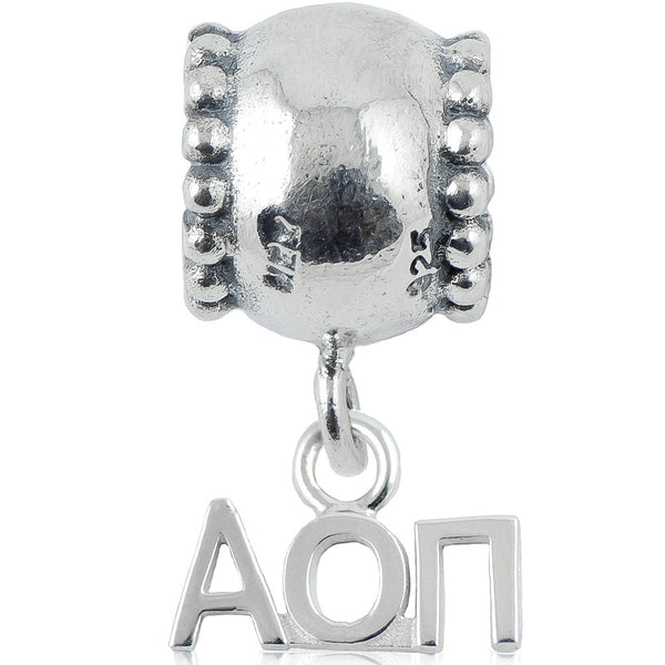 Sorority Alpha Omicron Pi Daisy Sterling Silver Slider Bead