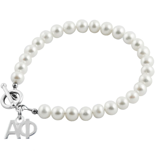 Sorority Alpha Phi White Pearl Bracelet