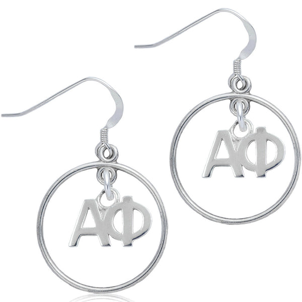 Sorority Alpha Phi Open Drop Earrings