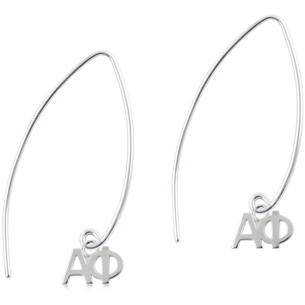 Sorority Alpha Phi Long Fishhook Earrings