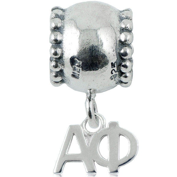 Sorority Alpha Phi Daisy Sterling Silver Slider Bead