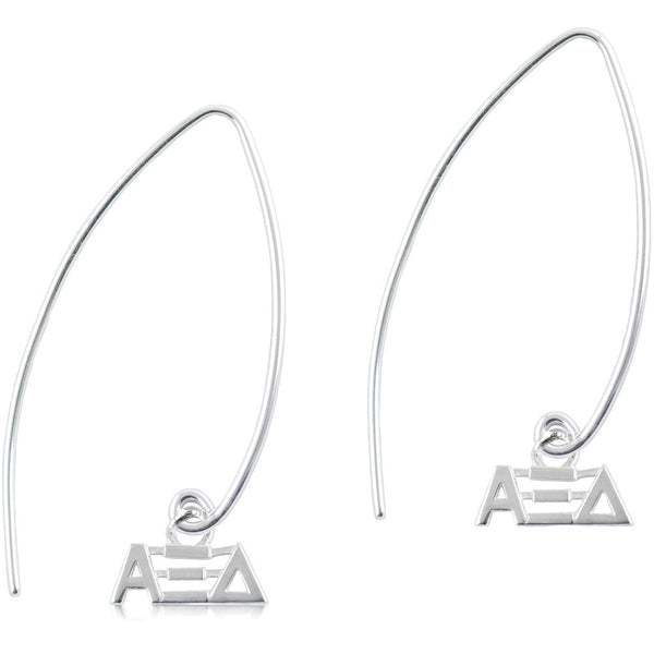 Sorority Alpha Xi Delta Long Fishhook Earrings