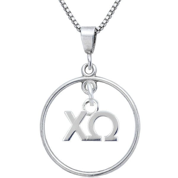 Sorority Chi Omega Open Drop Necklace