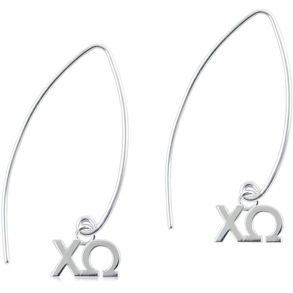 Sorority Chi Omega Long Fishhook Earrings