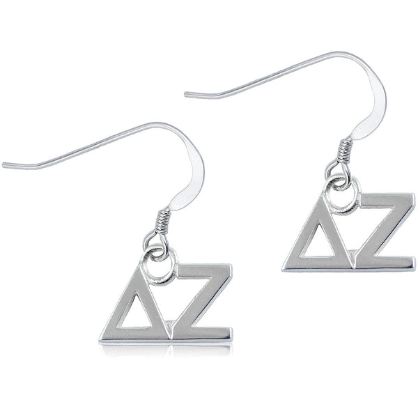Sorority Delta Zeta Sterling Silver Dangle Earrings