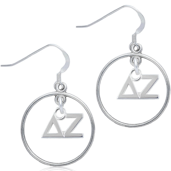 Sorority Delta Zeta Open Drop Earrings