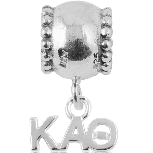 Sorority Kappa Alpha Theta Daisy Sterling Silver Slider Bead