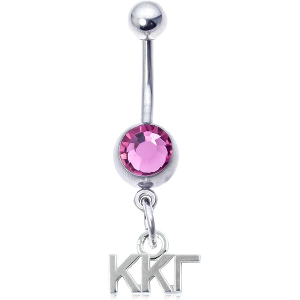 Sorority Kappa Kappa Gamma Pink Belly Button Ring