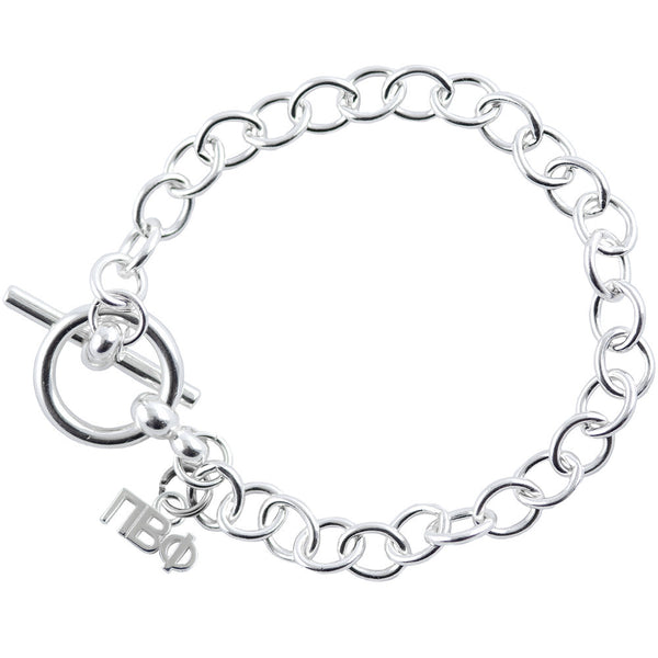 Sorority Pi Beta Phi Sterling Silver Link Bracelet