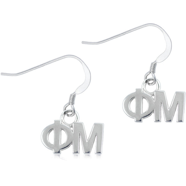 Sorority Phi Mu Sterling Silver Dangle Earrings