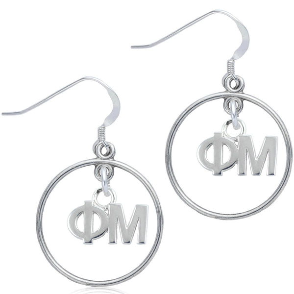 Sorority Phi Mu Open Drop Earrings