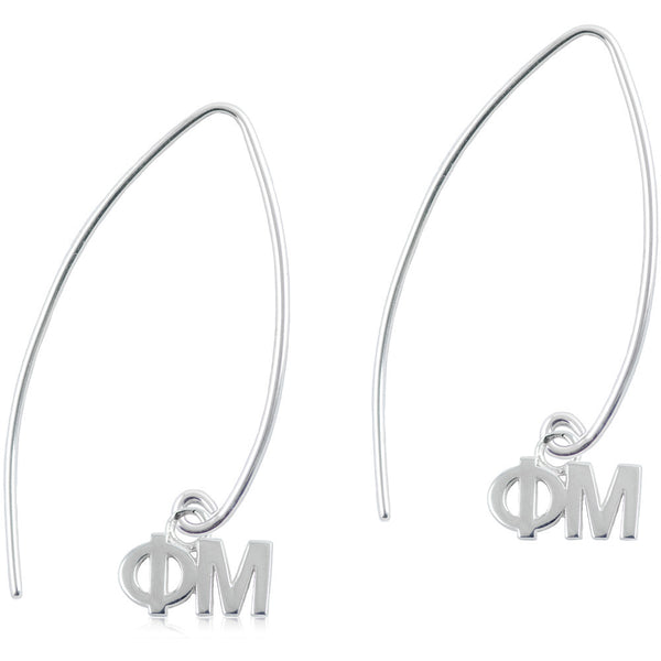 Sorority Phi Mu Long Fishhook Earrings
