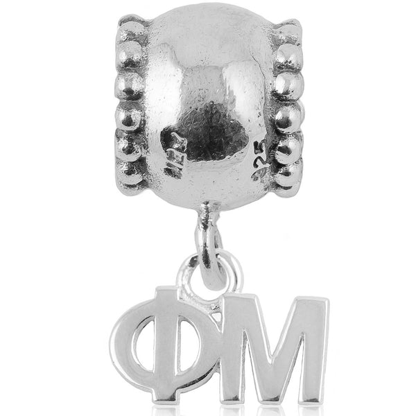 Sorority Phi Mu Daisy Sterling Silver Slider Bead
