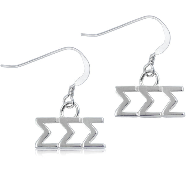 Sorority Sigma Sigma Sigma Sterling Silver Dangle Earrings