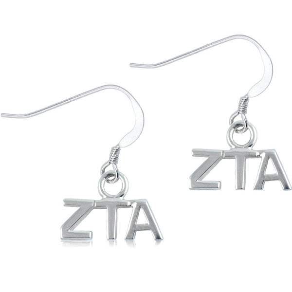 Sorority Zeta Tau Alpha Sterling Silver Dangle Earrings
