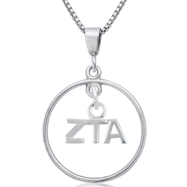 Sorority Zeta Tau Alpha Open Drop Necklace