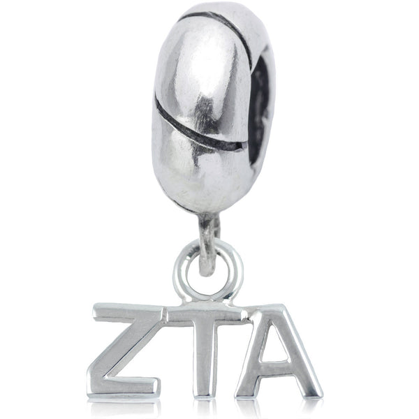 Sorority Zeta Tau Alpha Sterling Silver Slider Bead
