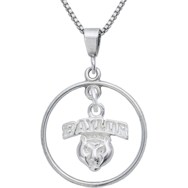 Collegiate Baylor University Bear Mascot Open Drop Necklace
