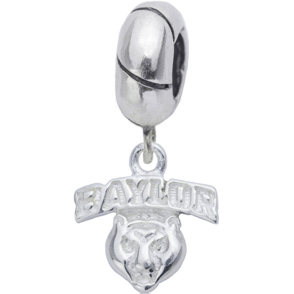 Collegiate Sterling Silver Baylor University Mascot Slider Bead