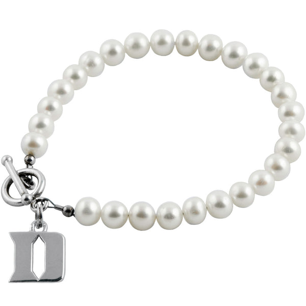 Collegiate Duke University White Freshwater Pearl Bracelet