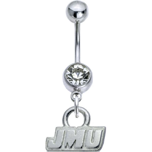 Collegiate Clear Gem James Madison University Belly Ring