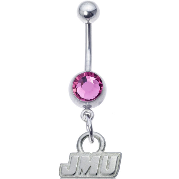 Collegiate Pink Gem James Madison University Belly Ring