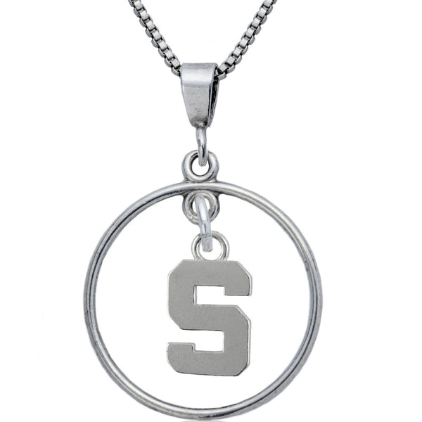 Collegiate Michigan State University Logo Open Drop Necklace