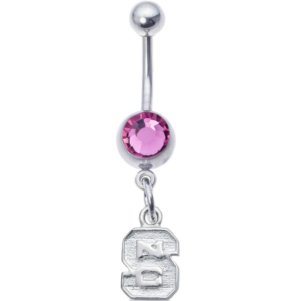Collegiate Pink Gem North Carolina State University Belly Ring