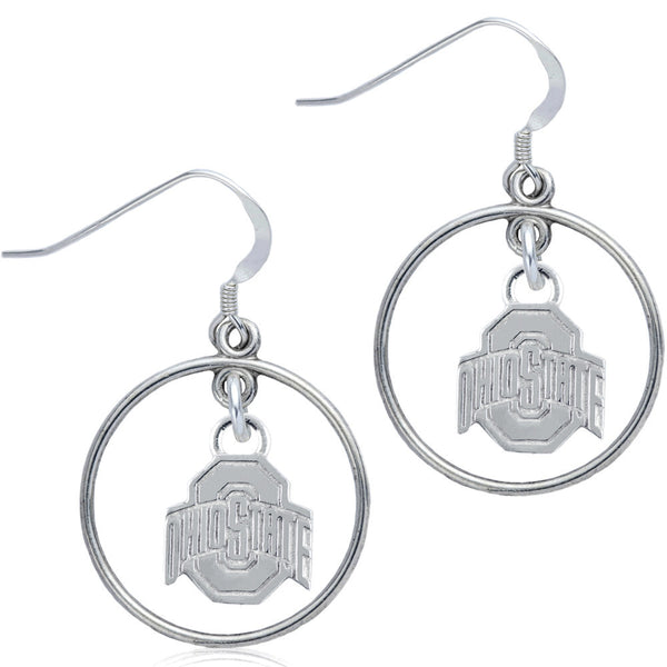 Collegiate Ohio State University Logo Open Drop Earrings