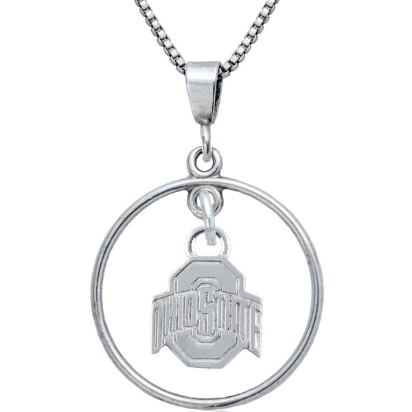 Collegiate Ohio State University Logo Open Drop Necklace