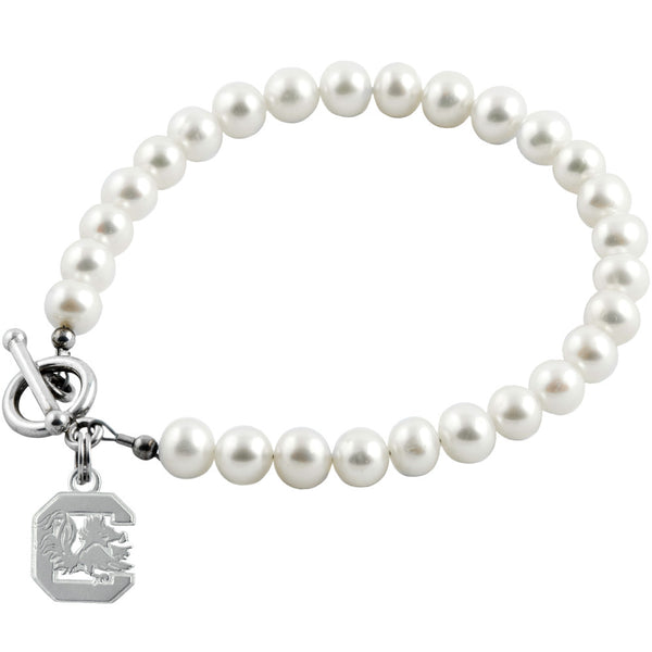 Collegiate University of South Carolina Logo Freshwater Pearl Bracelet