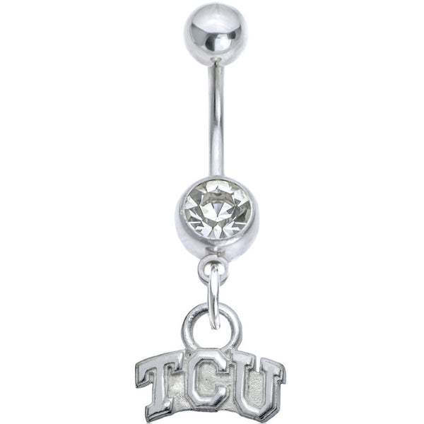 Collegiate Clear Gem Texas Christian University Belly Ring