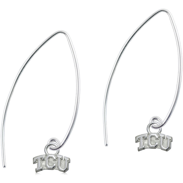 Collegiate Texas Christian University Long Fishhook Earrings