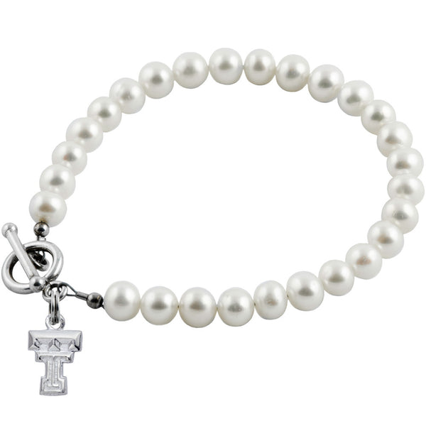 Collegiate Texas Tech University White Freshwater Pearl Bracelet