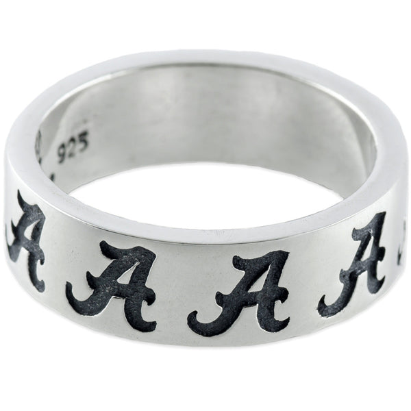 Size 7 Collegiate University of Alabama Logo Band Ring