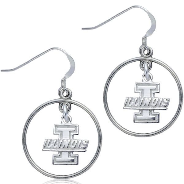 Collegiate University of Illinois Logo Open Drop Earrings